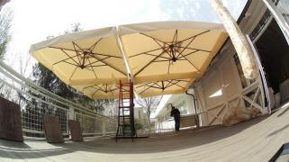 Large outdoor umbrellas for cafe, bar, restaurant