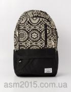 Urban backpack with black and white ornament